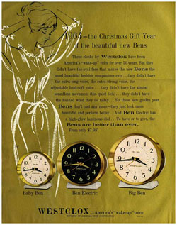 The style 8 Big and Baby Bens were introduced in 1964. This 1964 Westclox Christmas ad describes their features.