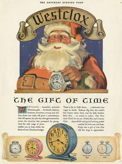 This Christmas ad illustrates 61-F Dura Case, style 2 crackle finish Big Ben and Baby Ben, Auto Clock, Pocket Ben and Country Club pocket watches.