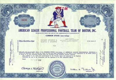 Stock. Issued in 1960. #4434. The vignette is the colorful mascot of the Patriots that was used from 1960-1992, affectionately called Pat Patriot.