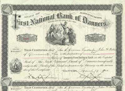 First National Bank of Danvers. Stock. Issued in 1900. #866.