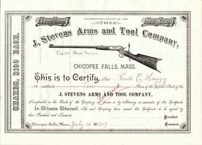 "Stevens Arms and Tool Company.   Famous gun maker from Chicopee. Formed in 1864 as ""J. Stevens and Company"". Renamed in 1886. Stock. Partially Issued in 1909. #36."
