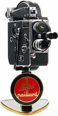 Paillard-Bolex H8, c. 1938, 8mm camera with original Dealer display stand