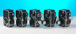 "Several Bolex 8mm ""pocket"" cameras from the 1950s"