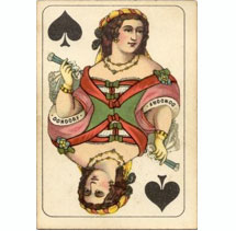 Queen of Clubs – Club Card, variation 1, printed by Bernard Dondorf, Germany, ca. 1875.