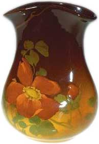 Standard Glaze 6 inch pocket vase decorated with red roses in 1901