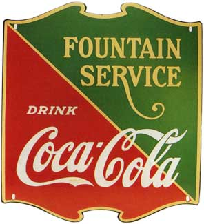 Diecut Coca-Cola Fountain Service sign manufactured in 1934