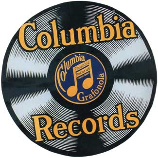 Columbia Records two-sided sign, hung from bracket