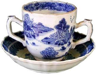 Two-handed cup & caucer by Jingdezhen Porcelain c. 1750 - Porcelain
