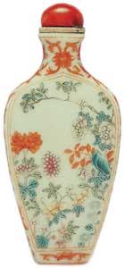 China porcelain vase powder enamel snuff bottle.