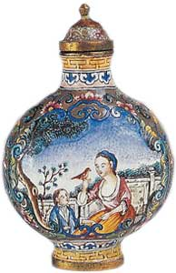 Enamelled metal, from the Guangdong manufactory, Qianlong period.