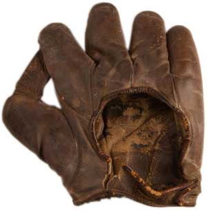 Babe Ruth's glove, 1926 - image courtesy of the Basbell Hall of Fame