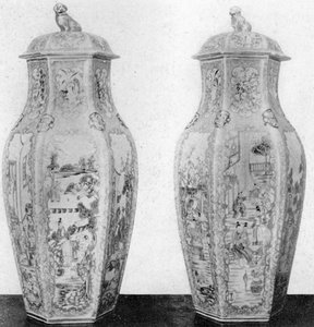A Pair of Chinese Vases: Worcester of the Dr. Wall period, these decorative pieces of porcelain, 17 inches tall, were made circa 1780. - courtesy Shereve Crump & Low