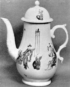 Coffee Pot with Chinese Decoration: Of the Dr. Wall period, this is typical Worcester made to compete with Oriental Lowestoft. - courtesy Shreve Crump & Low