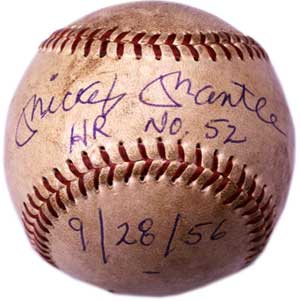 Mickey Mantle homerun no. 52 baseball, 1956 - image courtesy the Baseball Hall of Fame