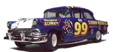 """Curtis Turner's 1956 """"Purple Hog"""" NASCAR  Ford.  Resin 2 door sedan body on a 1956 AMT kit chassis. Very few modifications needs, as the cars were closer to their street-going cousins back then, but the kit had the wrong body style, so a correct resin body was subbed."""