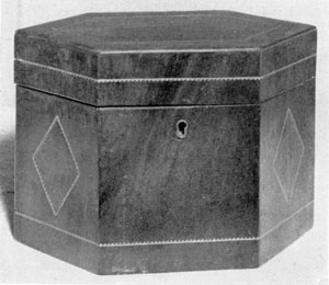 A Darlington Tea Caddy: This piece, made of mahogany, in the Hepplewhite manner with delicate geometric inlay designs, was the work of Amos Darlington, Jr.