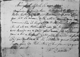 "Illustration II: A Letter by Peter Quintard: Dated April 11, 1728, and addressed to his brother, ""Isaac Quintard, Living in Stamford."" Written in French, a translation is: ""My brother, These few lines to assure you of our health which is good, thank God. I pray God that it be the same with your own. Morin has come to dwell here. He is going to Boston for his wife because he has a house here. I beg you to come here Saturday or some day soon to fetch work to go to Hartford. I pray you to come without fault for I am expecting it. This is all for the present- except that I remain your loving brother until death. Pr Quintard."" The other side, in addition to the address, has notes, probably in Isaac Quintard's hand-writing, of an account with Samuel Knapp, his brother-in-law. The five entries total six shillings, six and one-half pence."