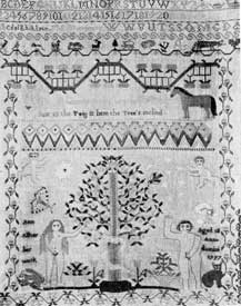 """Illustration I: American Sampler, Dated 1797: The lower part is a representation of Adam and Eve in needle stitch. At the lower left and right it is signed: """"Ann Alker her work. Aged 12 Anno domini 1797."""""""