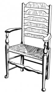 An 18th-Century English Chair: This is a country piece in which the maker endeavored urban sophistication by the shaping of the front legs and the six slats of the back.