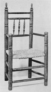 An American Carver Chair: This example of this type was made circa 1650-1700. The posts or legs are of maple; the stretchers and spindles, of ash.