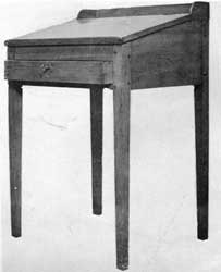 A Schoolmaster's Desk: In this piece the legs and frame are of birch; the lid is of pine.