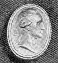 ILLUSTRATION III: A Smaller Berlin Casting: This portrait bust in relief, cast from a smaller original, belonged to Mrs. Samuel Myers of Richmond, Va., probably a relative of Myer Myers, the New York silversmith. Size 10/16 by 8/16 inches.