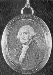 "ILLUSTRATION IV: A Sons-of-Washington Badge: The portrait is a stippled engraving by David Edwin, after Gilbert Stuart. The face of locket frame is engraved, ""Joseph S. Lewis, Feb. 22, 1810,"" and on the reverse, ""Sons of Washington,"" Size 1 1/2 by 1 1/8 inches."