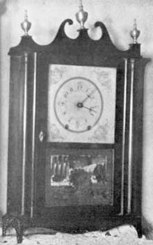 A Terry Type Clock in Miniature: The clock, about two-thirds the size of one of standard size, was made by Mark Leavenworth, Waterbury, Conn., about 1825.