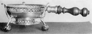 Chafing Dish by John Burt: This was made for Nicholas Sever, 1715-1728.