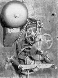 Comparison in Clock Movements: Grandfather clock with skeleton plates, probably by Simon Willard.