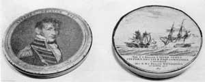 A Decatur Snuff Box: The lid bears the likeness of Commodore Decatur, copied from an engraving of the portrait by Gilbert Stuart. On the bottom is a picture showing capture of the Macedonian by the United States that occurred October 25, 1812, copied from engraving of same name.