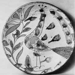 An Early Pinprick Decoration: This plate, dated circa 1793, is attributed to Henry Roudebuth, whose pottery was in Montgomery County, Pennsylvania.