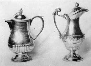 Illustration V: Ewers by Laurent Amiot of Quebec: Used as CHOCOLATIERES or AIGUIERES, that at the left bears a lengthy inscription stating that it was given as a tribute of gratitude to the people of Isle-aux-Coudres after the salvage in 1832 of the brig ROSALIND.