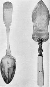 Silver owned by Irving: Fiddleback serving spoon, by H. Cheavenes, c. 1815, and French pie server, c. 1838.