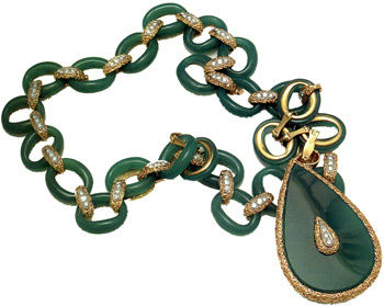 "Necklace, sautoir, dyed green chalcedony, diamonds, 18k yg, platinum c. 1970 - ""Made in France,"" makers mark ""AV"" for Vassort Paris"