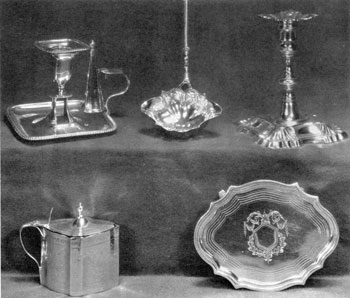 Five Pieces Bearing Women's Marks: Top to bottom, left to right, with year of the date letter, these are: bedroom candlestick by Ann Robertson, Newcastle, c. 1800; punch ladle by Dorothy Mills, London, 1752; candlestick by Eliza Godfrey, London, 1762; mustard pot by James and Elizabeth Bland, London, 1795; and teapot stand by Duncan Urquhart and Naphtalia Hart, London, 1798.