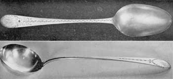 "Two Pieces of Flatware by Gilbert: Above, a dessert spoon; below, a ladle. Both are decorated with ""bright-cut"" engraving. On the spoon it extends the entire length of the handle. The ladle is from the collection of Mrs. Robert B. Noyes."