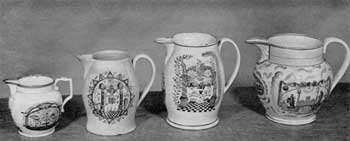Four Other Masonic Pitchers: Figure 8: an Orangeman's jug in copper lustre and brilliant colors – not Masonic but design includes many of its emblems; Figure 9: Liverpool jug, black transfer decoration with unusual border; Figure 10: Liverpool pitcher with decoration in colors – design similar to Figure 5; Figure 11: Sunderland jug in purple lustre with Masonic decoration in black and colors.