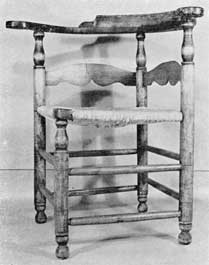 Illustration IV: The shaping of the slats is uncommon, especially the Cupid's bow of lower edge. So like a chair made by Lieutenant Benjamin Vassal (1742-1828), and now owned by the Worcester Society of Antiquities, that both may have been his work.