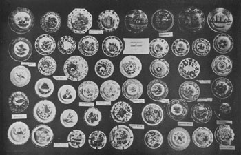 """Illustration I: An Assortment of Rare China Cup Plates: A great many of the designs shown here may be found in other pieces. In the top right-hand corner is a rare specimen in soft paste, depicting a boat, crudely done. Few pieces in this pattern have ever been found. It is known to some as the """"Lake"""" plate and to others as """"the boat."""" A similar design is known in a large plate and it is probable that it was made in complete sets at one time, because plates, sugar bowls, molasses jars, and cups and saucers have been found as well as the cup plate."""