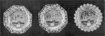 Illustration II: The Steamer Fulton: In form, two of the plates are octagonal and one round. Each is a variation. The number of serrations in the edge, slant of the ship, and the detail of design in the border varies.