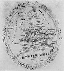"""Illustration II: Needlework Map of England: Done in 1822 by a little girl who was too modest to include her name and age, this accents the boundaries of the shires. At the right is lettered: """"River Thames."""" A year ago, this once peaceful coast of Kent and Essex became known around the world as """"Hell's Corners."""""""
