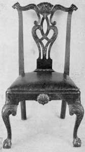 One of a Set of Washington Chairs: This set consists of five side chairs used in the Presidential residence in Philadelphia. They were sold and later acquired by Colonel Frank M. Etting, who for many years was the curator of Independence Hall. Of the Philadelphia Chippendale style and made of mahogany, an armchair of identical design and by the same cabinetmaker is in a private collection.