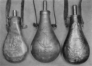 "Plate III – Three American Military Flasks: At the left, U. S. Army regulation issue; center, a U. S. Navy flask, used for the priming charge for a cannon; and right, flask marked ""US"" on the shield superimposed on a stand of crossed flags and arms. Above, within a circle of 26 stars are two clasped hands and below the neck, an eagle with wings spread, shield of stars and stripes on its breast."