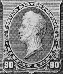 Portrait Bust of Commodore Perry: This was reproduced on the ninety-cent United States stamp of the issue of 1870. The sculptor of this likeness of the naval officer who commanded the fleet which opened trade with Japan was Walcott, one of the lesser-known American sculptors of the Mid-19th Century