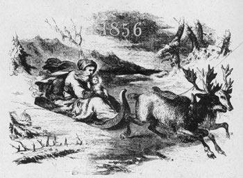 Reindeer But No Santa Claus: An unsigned woodcut illustration from Gleason's Weekly of 1856, showing Father Time in the traditional sleigh holding a small child in his arms. The conventional pack of presents was yet to be included in such a drawing.