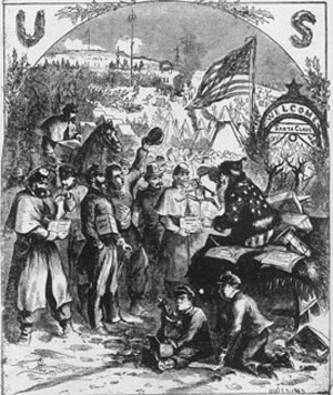 Santa Claus at the Front: This illustration from Harper's Weekly, January 3, 1863, was the first Santa Claus drawing by the artist Thomas Nast. His later cartoons of Boss Tweed and the Tammany Tiger probably did more than anything else to rid New York City of its infamous Boodle Ring. During the Civil War, like Winslow Homer, he made many drawings of military scenes, both in camp and in action. This is a woodcut, but bears only Nast's signature.