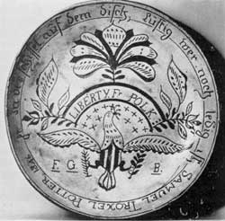 "Signed Samuel Troxel: In the center is lettered, in an arc, ""Liberty Fr. Polk,"" while the outer border with Troxel's name and date 1846, is in German. This pottery was in Montgomery County, Pennsylvania."