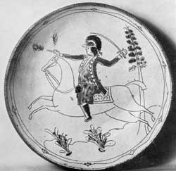 The Soldier on Horseback Design: This sgraffito and slip decorated plate was made circa 1800 by David Spinner in Bucks County, Pennsylvania.