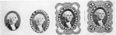 Stages in Engraving the Twenty-four Cent Head of Washington Design: Left to right, the oval portrait copied from Gilbert Stuart, with lettering surrounding the portrait, geometric lathe engraved frame, and at right, the completed design with 24 engraved in each corner.